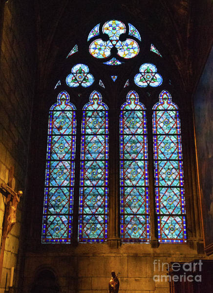 Wall Art - Photograph - Stained Glass Details Cathedrale Notre Dame De Paris France Before Fire by Wayne Moran