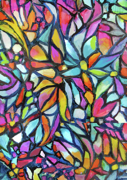 Mixed Media - Stained Glass Garden by Jean Batzell Fitzgerald