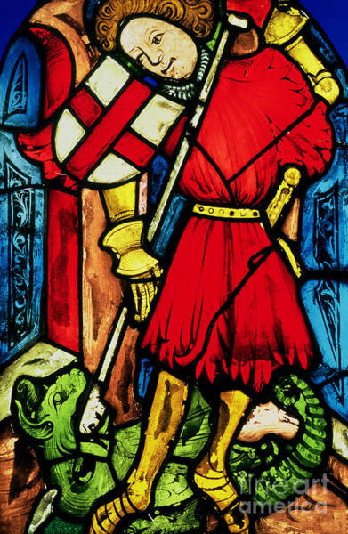 Wall Art - Photograph - Stained Glass Of Saint George And The Dragon by German School