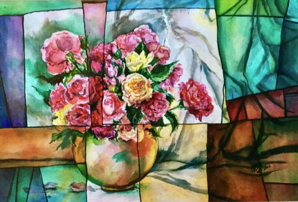 Wall Art - Painting - Stained Glass Roses by Kathy Hauge