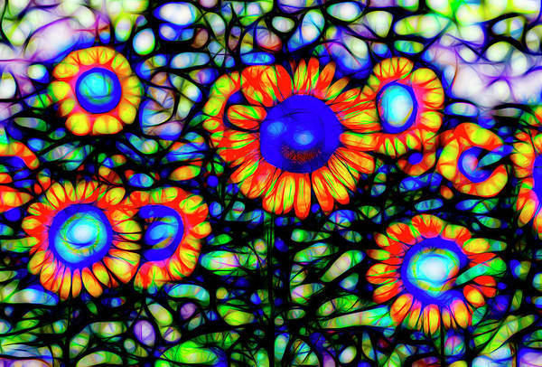 Wall Art - Photograph - Stained Glass Sunflowers Art by David Pyatt