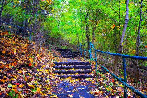 Digital Art - Staircase In The Forest In Van Gogh Style by Christopher Shellhammer