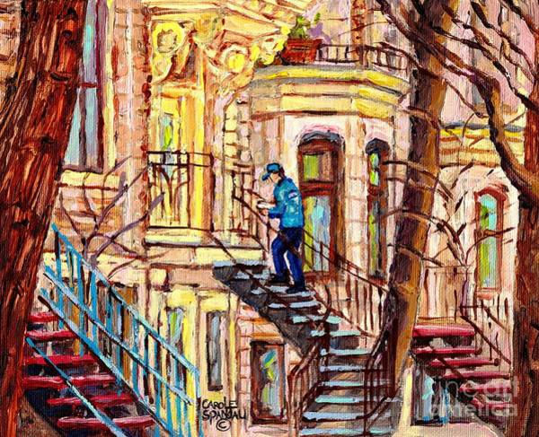 Painting - Staircase Street Scene Montreal Winding Staircases C Spandau The Mailman Plateau To Verdun Steps Art by Carole Spandau