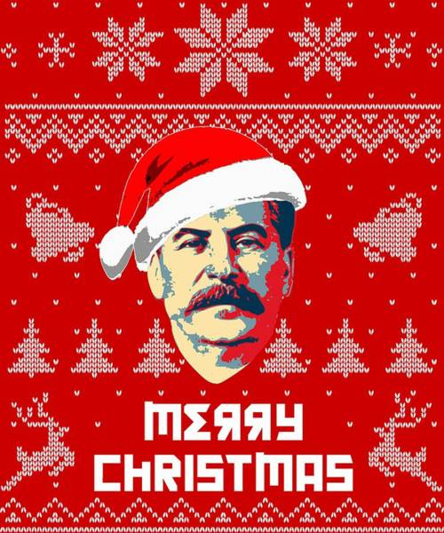 Ugly Digital Art - Stalin Merry Christmas Russian Letters by Filip Hellman