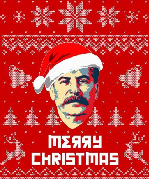 Propaganda Digital Art - Stalin Merry Christmas Russian Letters by Filip Hellman
