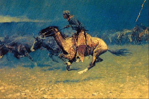 Wall Art - Painting - Stampeded By Lightning by Frederic Remington