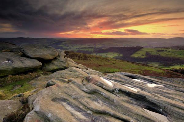 Peak District National Park Photograph - Stanage Edge Sunset, Peak District by Chris Hepburn