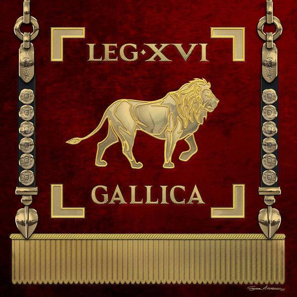 Digital Art - Standard Of 16th Legion Gallica - Vexillum Of The Gallic Sixteenth Legion by Serge Averbukh