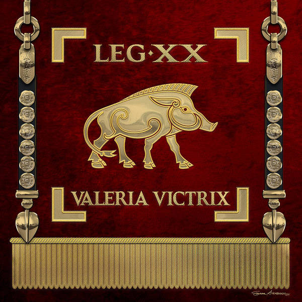 Digital Art - Standard Of 20th Legion Valeria Victrix - Vexillum Of The Twentieth Victorious Valeria Legion by Serge Averbukh