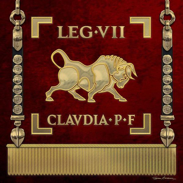 Digital Art - Standard Of Claudius' Seventh Legion - Vexillum Of Legio Vii Claudia Pia Fidelis by Serge Averbukh