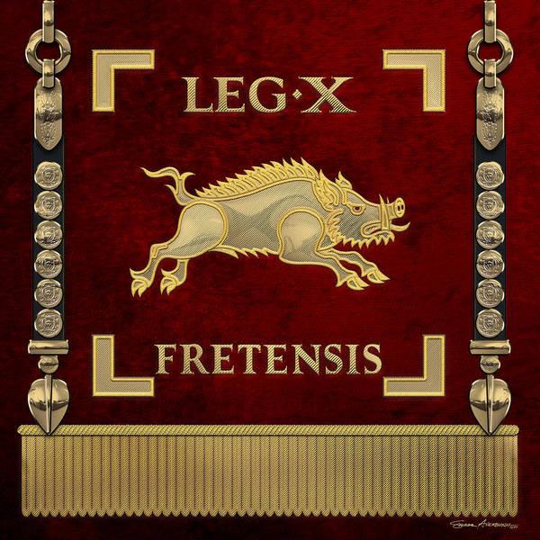 Digital Art - Standard Of The 10th Legion Of The Strait - Vexillum Of Legio X Fretensis by Serge Averbukh