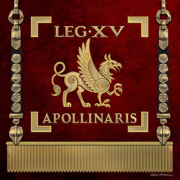 Digital Art - Standard Of The 15th Legion Apollinaris - Vexillum Of The Apollo's Fifteenth Legion by Serge Averbukh