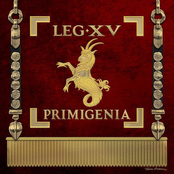 Digital Art - Standard Of The 15th Legion Primigenia  - Vexillum Of The Fortune's Fifteenth Legion by Serge Averbukh