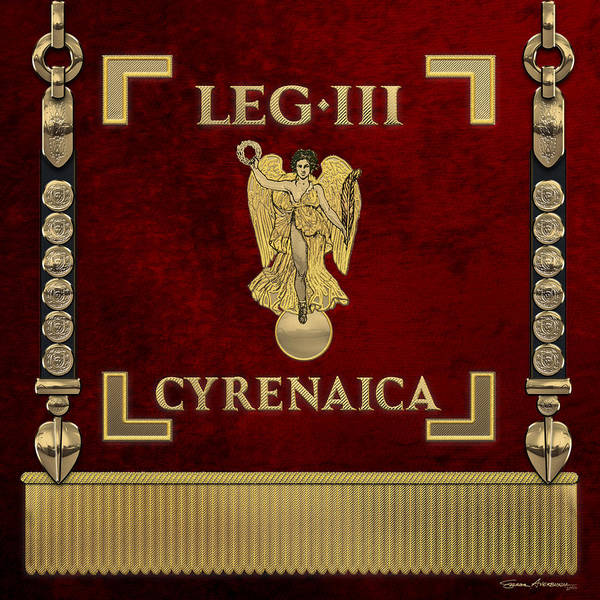 Digital Art - Standard Of Cyrenean Third Legion - Vexillum Of Legio IIi Cyrenaica by Serge Averbukh