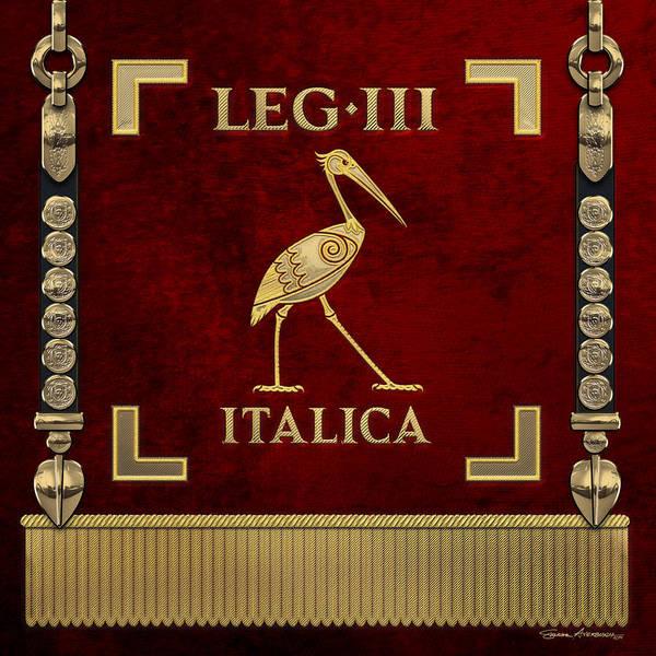 Digital Art - Standard Of The Italian Third Legion - Vexillum Of Legio IIi Italica by Serge Averbukh