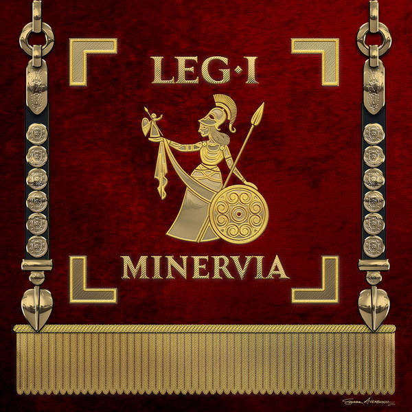 Digital Art - Standard Of The Minerva's First Legion - Vexillum Of Legio I Minervia by Serge Averbukh