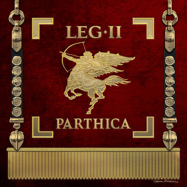 Digital Art - Standard Of The Parthian-conquering Second Legion - Vexillum Of The Legio II Parthica by Serge Averbukh