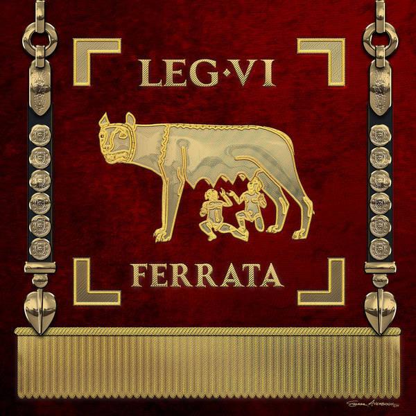 Digital Art - Standard Of The Sixth Ironclad Legion - She-wolf Vexillum Of Legio Vi Ferrata Over Red by Serge Averbukh