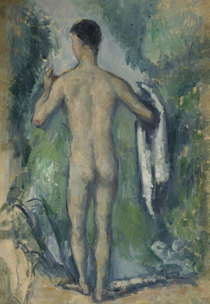 Wall Art - Painting - Standing Bather, Seen From The Back by Paul Cezanne