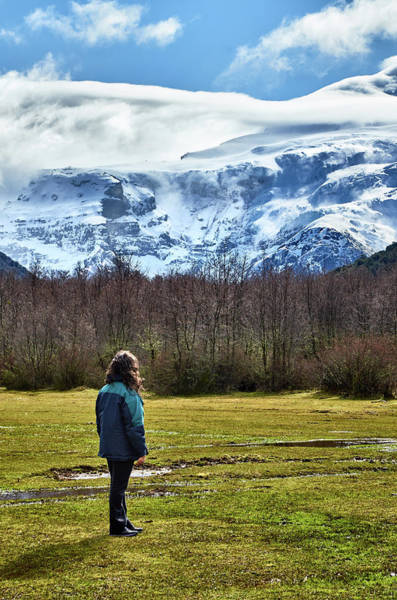 Photograph - Person Standing Before The Tronador Hill In The Argentine Patagonia by Fine Art Photography Prints By Eduardo Accorinti