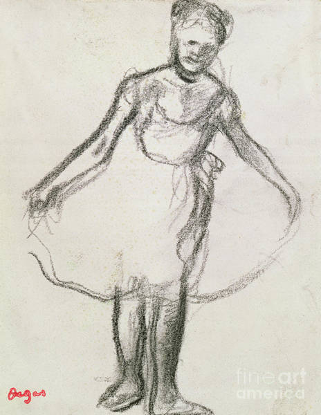 Wall Art - Pastel - Standing Dancer Holding Tutu  by Edgar Degas