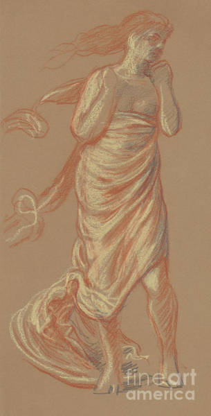 Wall Art - Drawing - Standing Draped Female Figure by Elihu Vedder