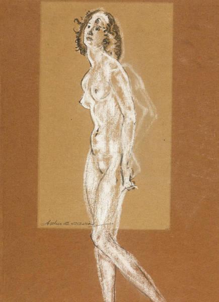 Wall Art - Drawing - Standing Female Nude by Arthur Bowen Davies