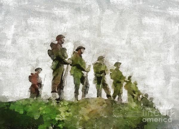 Wall Art - Painting - Standing Guard, World War Two by Mary Bassett