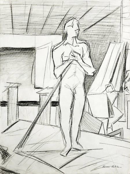Male Model Drawing - Standing Man by Bruce Bodden