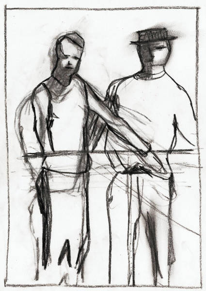 Drawing - Standing Men by Artist Dot
