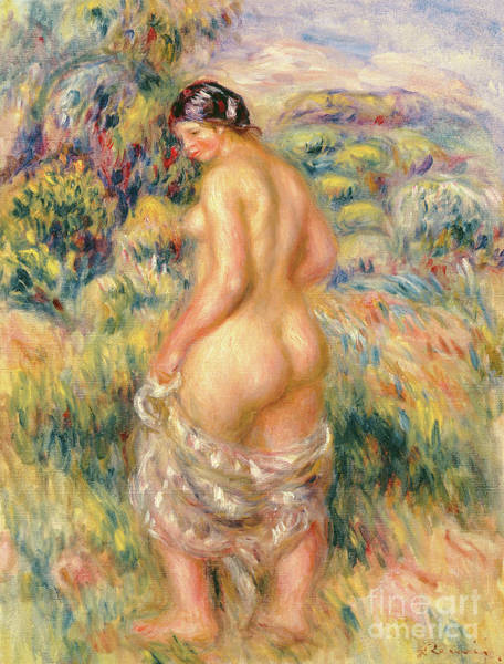 Wall Art - Painting - Standing Nude In A Landscape  by Pierre Auguste Renoir