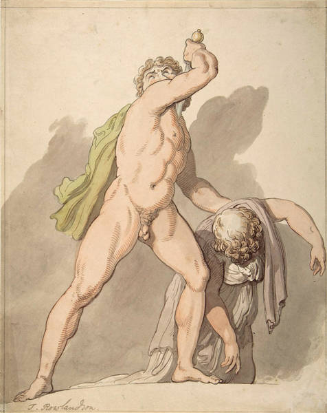 Painting - Standing Nude Man Supporting Fainting Female. Ludovisi Gaul In The Uffizi by Thomas Rowlandson