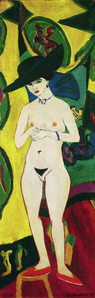 Wall Art - Painting - Standing Nude With Hat - Digital Remastered Edition by Ernst Ludwig Kirchner
