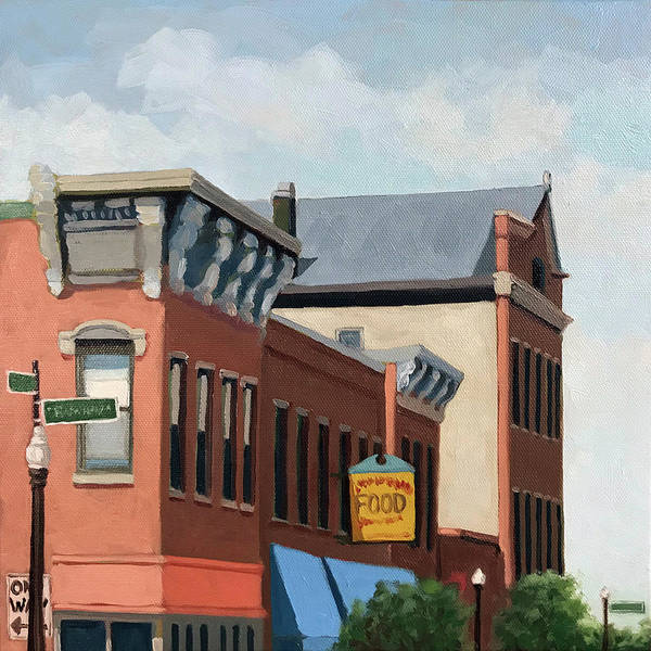 Wall Art - Painting - Standing Tall -local City Buildings by Linda Apple