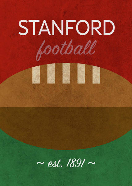 Wall Art - Mixed Media - Stanford Football Minimalist Retro Sports Poster Series 016 by Design Turnpike