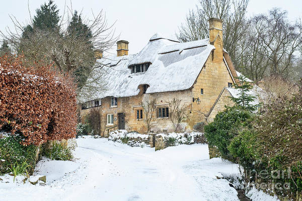 English Countryside Photograph - Stanton Thatched Cottage In December by Tim Gainey