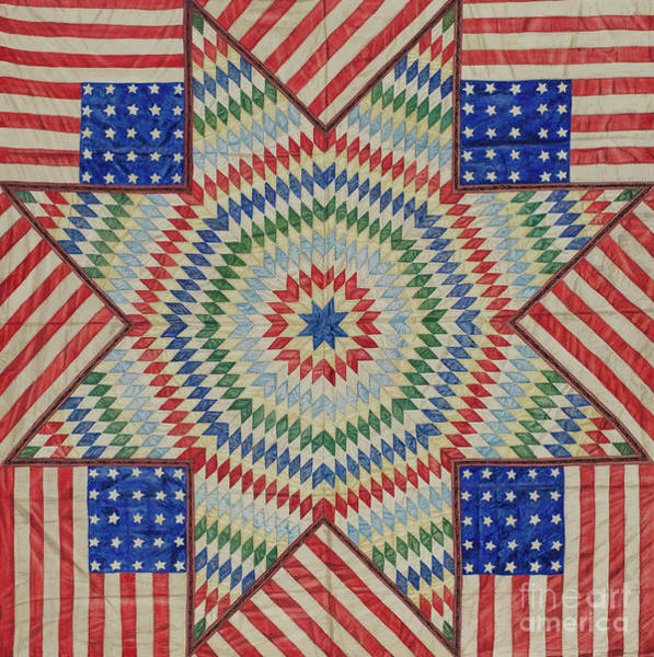 Wall Art - Tapestry - Textile - Star And Flag Quilt Design by American School