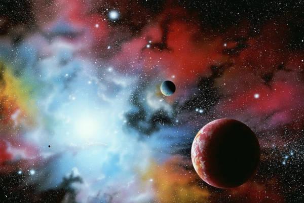 Nebula Digital Art - Star, Nebula And Planets by Kauko Helavuo