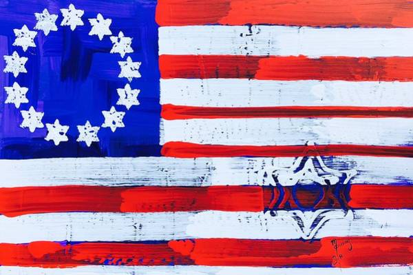 Guns And Roses Painting - Star Of David American Flag Sod-02-18 by Richard Sean Manning
