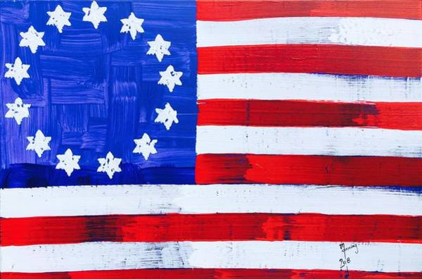 Guns And Roses Painting - Star Of David American Flag Sod-03-18  by Richard Sean Manning