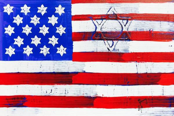 Guns And Roses Painting - Star Of David American Flag Sod-04-18   by Richard Sean Manning