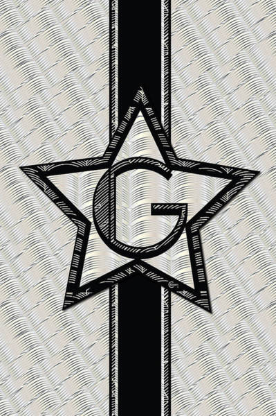 Digital Art - Star Of The Show Art Deco Style Letter G by Cecely Bloom