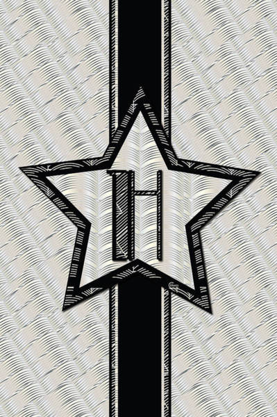 Digital Art - Star Of The Show Art Deco Style Letter H by Cecely Bloom