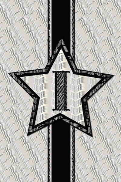 Digital Art - Star Of The Show Art Deco Style Letter I by Cecely Bloom
