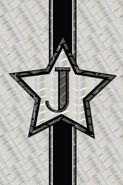 Digital Art - Star Of The Show Art Deco Style Letter J by Cecely Bloom
