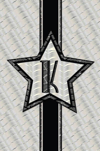 Painting - Star Of The Show Art Deco Style Letter K by Cecely Bloom