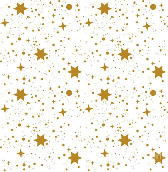 Wall Art - Digital Art - Star, Pattern, White, Background, Gold by Ann.and.pen