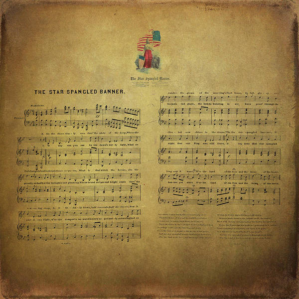 Digital Art - Star Spangled Banner Vintage Sheet Music by Peggy Collins