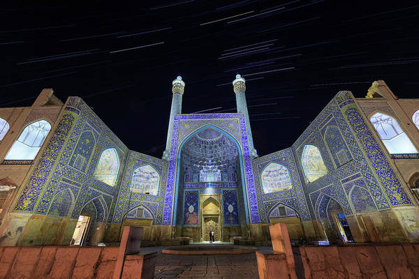 Wall Art - Photograph - Star Trails Above The Shah Mosque by Jeff Dai