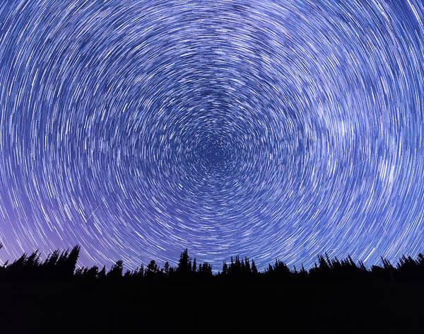 Digital Art - Star Trails In Mt Rainier National Park by Michael Lee